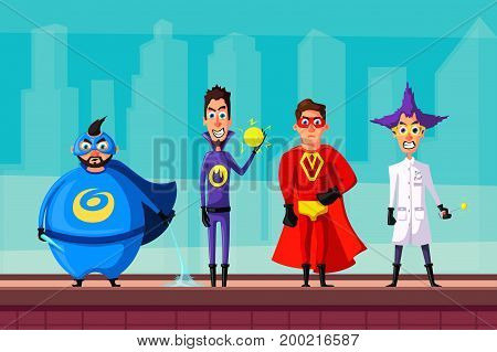 Set of evil superhero. Cartoon vector illustratration. People on the roof. City on background. Comics characters