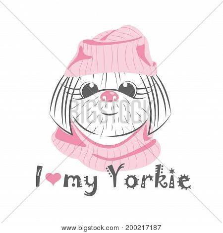 I love my Yorkie. Vector illustration isolated on white background.