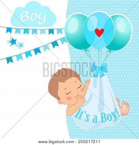 Baby Boy Shower Card Vector Illustration.