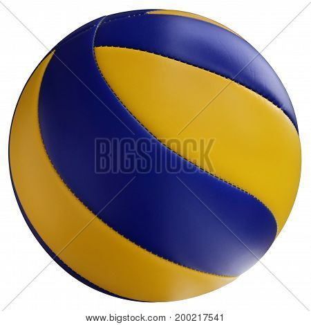 Blue-yellow volleyball ball is isolated on a white background.