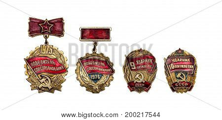 Retro badges USSR (Winner of socialist competition udarnik of the five year plan) isolated on white background
