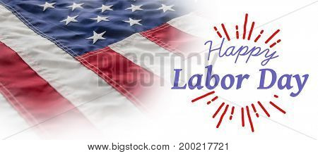 Digital composite image of happy labor day and god bless America text against full frame of wrinkled american flag