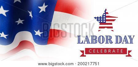Labor day celebrate text and star shape American flag against full frame of wrinkled american flag