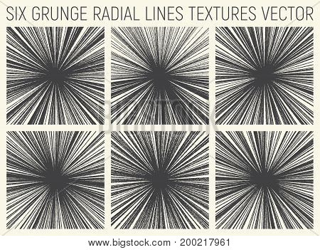 Set of Six Grunge Hand Drawn Radial Lines Textures Vector Abstract Background