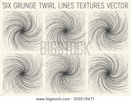 Set of Six Grunge Hand Drawn Sketchy Twirl Lines Textures Vector Abstract Background