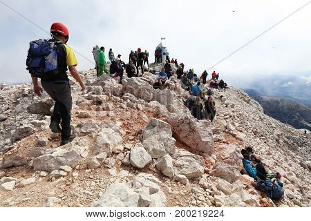 TRIGLAV PEAK, 14 AUGUST 2017- Climbers on Triglav Peak, 2864m, Julian Alps, Slovenia, Europe