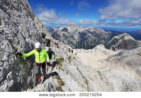 TRIGLAV, AUGUST 12, 2017 - Climbers on Triglav Peak, Slovenia, Europe