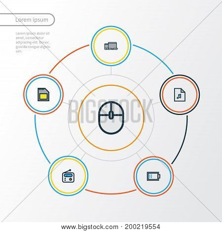 Music Colorful Outline Icons Set. Collection Of Memory, Charge, Devices And Other Elements