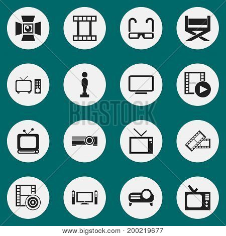 Set Of 16 Editable Movie Icons. Includes Symbols Such As Tv, Record, Oscar And More