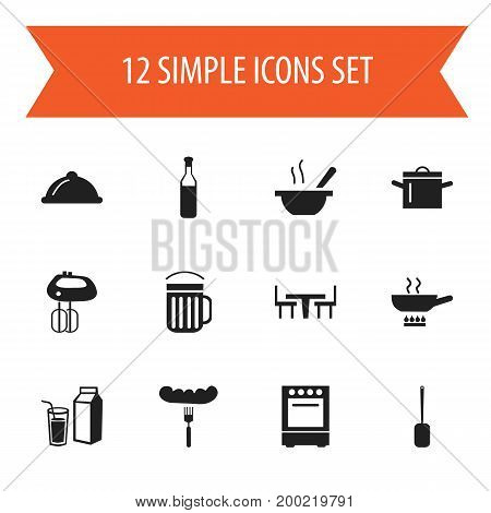 Set Of 12 Editable Cook Icons. Includes Symbols Such As Stewpot, Beer, Dining Table And More