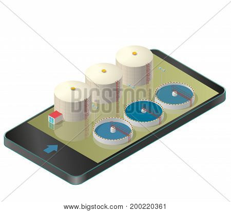 Water treatment isometric building in mobile phone. Bacterium purifier factory, industrial chemistry cleaner set in communication technologies, paraphrase. Master vector isolated on white background.