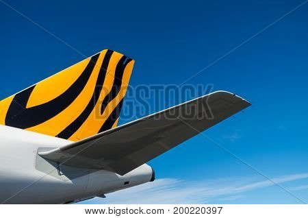 Coolangatta, Australia - July 8, 2017: Tigerair Australia is an Australian low-cost airline primarily operating Airbus A320-200 aircraft.