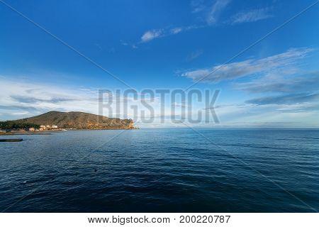 Cape Alchak with a bird's eye bright daytime landscape journey the Crimea