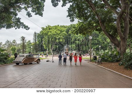 SYDNEY,NSW,AUSTRALIA-NOVEMBER 29,2016: Wedding party at Hyde Park with photographer taking photos along the fig tree lined streets in Sydney, Australia.