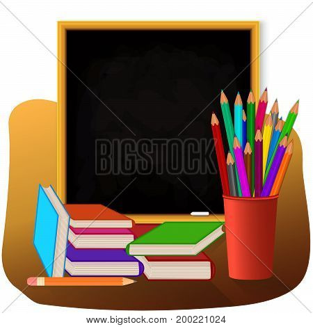 School set on white background. Colored pencils in red cup. Books with color cover blackboard with chalk. Vector illustration.