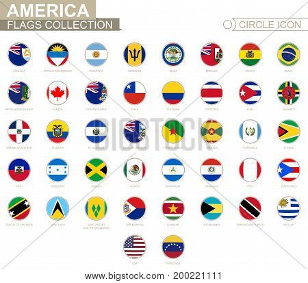 Alphabetically Sorted Circle Flags Of America. Set Of Round Flags.
