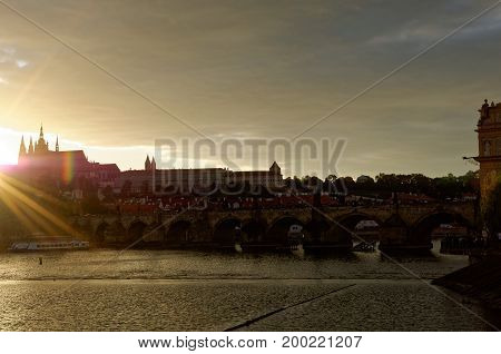 Sunset view on Hradcany castle in Prague.
