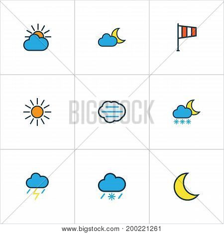 Weather Colorful Outline Icons Set. Collection Of Freeze, Tempest, Clouded And Other Elements