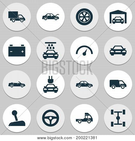 Car Icons Set. Collection Of Drive Control, Stick, Fixing And Other Elements
