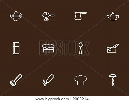 Set Of 12 Editable Cooking Outline Icons. Includes Symbols Such As Kitchenette, Chef Hat, Refrigerator And More