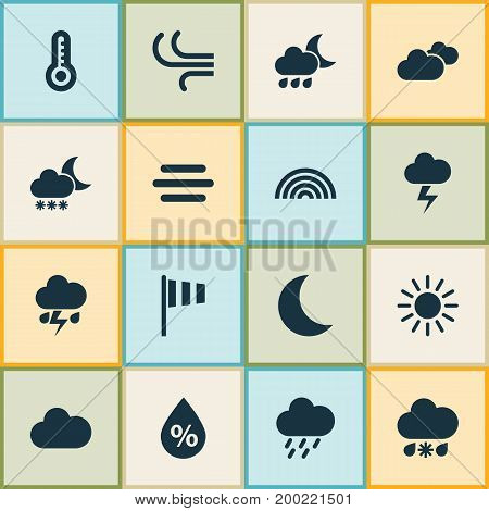 Weather Icons Set. Collection Of Sun, Breeze, Flag And Other Elements