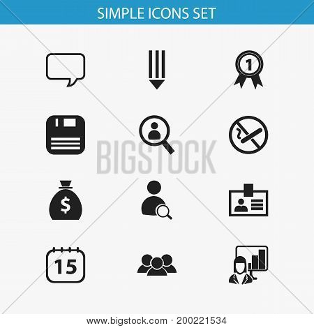 Set Of 12 Editable Office Icons. Includes Symbols Such As Smoking Forbidden, Presentation, Message Bubble And More