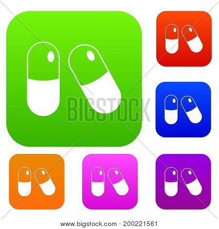 Pills set icon in different colors isolated vector illustration. Premium collection
