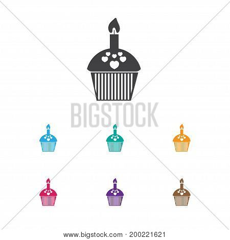Vector Illustration Of Heart Symbol On Cupcake Icon