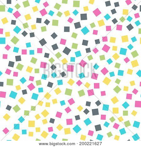 Abstract Squares Pattern. White Geometric Background. Extraordinary Random Squares. Geometric Chaoti