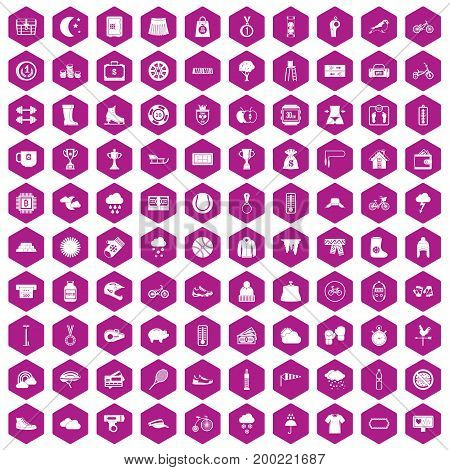 100 woman sport icons set in violet hexagon isolated vector illustration