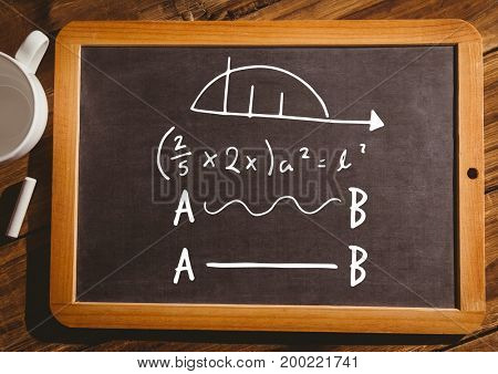 Digital composite of math equations on blackboard with chalk