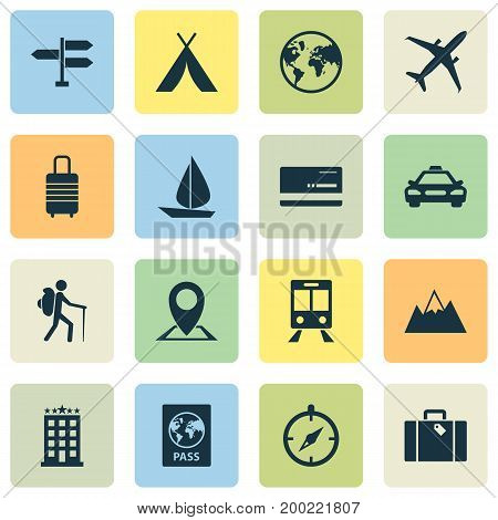 Exploration Icons Set. Collection Of Traveler, Land, Guide Elements