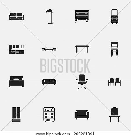 Set Of 16 Editable Furnishings Icons. Includes Symbols Such As Trestle, Cupboard, Couch And More