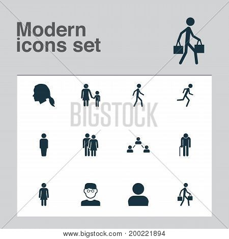 Person Icons Set. Collection Of Scientist, Network, Jogging And Other Elements
