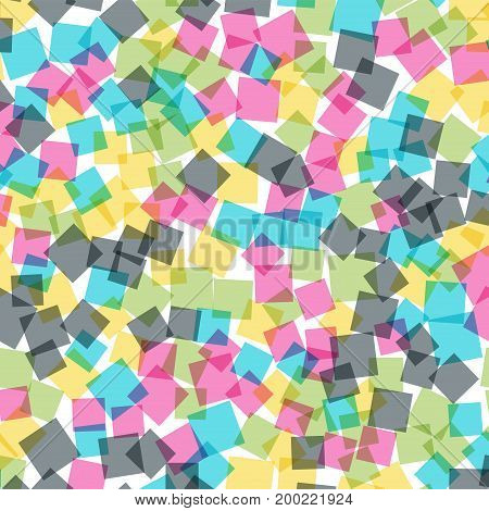 Abstract Squares Pattern. White Geometric Background. Incredible Random Squares. Geometric Chaotic D