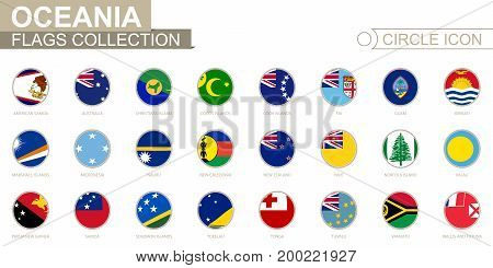 Alphabetically Sorted Circle Flags Of Oceania. Set Of Round Flags.