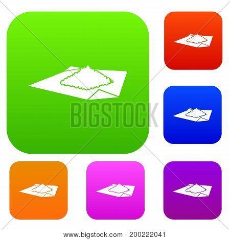 Powder marijuana set icon in different colors isolated vector illustration. Premium collection