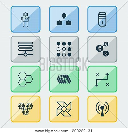 Learning Icons Set. Collection Of Hive Pattern, Laptop Ventilator, Analysis Diagram And Other Elements