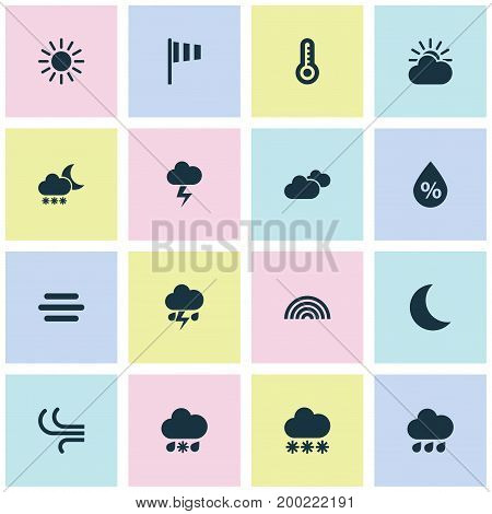 Weather Icons Set. Collection Of Moisture, Snowy, Wet And Other Elements