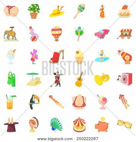 Big carnival icons set. Cartoon style of 36 big carnival vector icons for web isolated on white background
