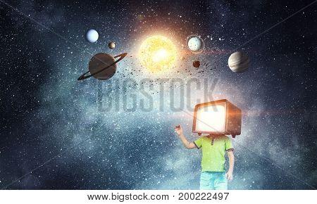 TV addicted children. Mixed media . Mixed media