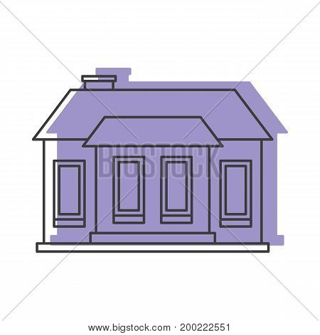 Lilac house doodle icon vector illustration for design and web isolated on white background. House vector object for labels  and advertising