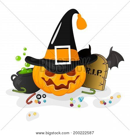 Happy Halloween Stock vector. Cartoon pumpkin in a hat smiling standing next to a pot of potions grave. Isolated white background.