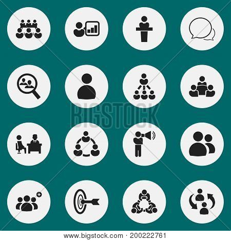 Set Of 16 Editable Team Icons. Includes Symbols Such As Meeting, Speaker, Debate And More