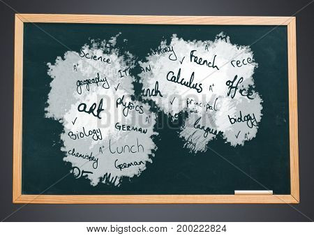 Digital composite of school subjects on blackboard