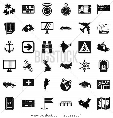 Gps icons set. Simple style of 36 gps vector icons for web isolated on white background