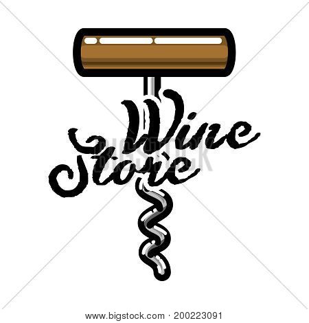 Color vintage wine store emblem. Template isolated icon design. Vector illustration, EPS 10
