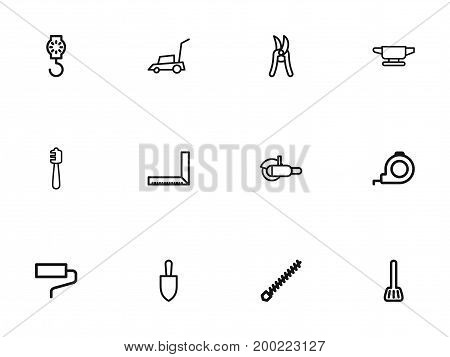 Set Of 12 Editable Apparatus Outline Icons. Includes Symbols Such As Lifting Machine, Measurement, Paintbrush And More