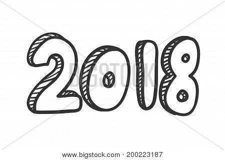 new year 2018 text design . Hand lettering design. Vector illustration.