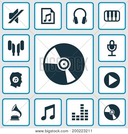 Music Icons Set. Collection Of Earphone, Octave, Equalizer And Other Elements